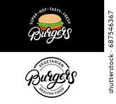 set burgers hand written... | Shutterstock . vector #687546367