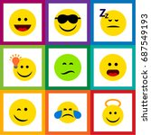 flat icon face set of laugh ... | Shutterstock .eps vector #687549193