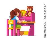 school or preschool kid girl... | Shutterstock .eps vector #687551557