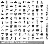100 tourist camp icons set in...   Shutterstock .eps vector #687552613