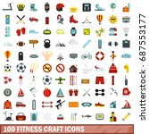 100 fitness craft icons set in... | Shutterstock .eps vector #687553177