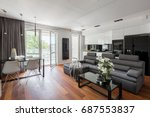 contemporary living room with... | Shutterstock . vector #687553837