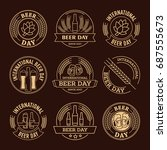 international beer day  beer... | Shutterstock .eps vector #687555673