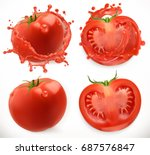 tomato juice. fresh vegetable.... | Shutterstock .eps vector #687576847