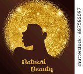 sparkling woman with afro ... | Shutterstock .eps vector #687582097
