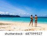 two pretty ladies wearing... | Shutterstock . vector #687599527