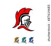 knight helmet logo | Shutterstock .eps vector #687614683