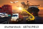 forklift handling container box ... | Shutterstock . vector #687619813