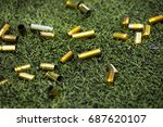 Bullet Shells Ground. Cases Of...
