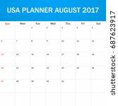 usa planner blank for august...   Shutterstock . vector #687623917