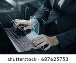 data security system shield... | Shutterstock . vector #687625753
