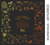hand drawn doodle autumn icons... | Shutterstock .eps vector #687630823