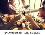 people cheers celebrating... | Shutterstock . vector #687631687