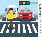 road safety campaign... | Shutterstock .eps vector #687633427