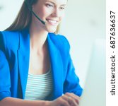 portrait of beautiful business... | Shutterstock . vector #687636637