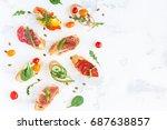 traditional spanish tapas on...   Shutterstock . vector #687638857