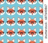smart cartoon foxes  vector... | Shutterstock .eps vector #687640867