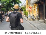 young asian traveler with... | Shutterstock . vector #687646687