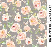 cute  vintage floral wallpaper... | Shutterstock . vector #687656857