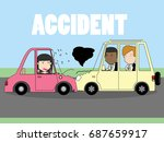 businessman and woman car crash.... | Shutterstock .eps vector #687659917