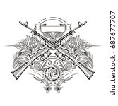 weapon vector design label ... | Shutterstock .eps vector #687677707