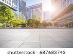 empty floor with modern... | Shutterstock . vector #687683743