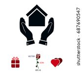 hand and house icon  vector...   Shutterstock .eps vector #687690547