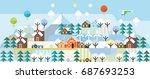 winter hills. ecology village. | Shutterstock .eps vector #687693253