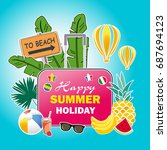 summer vacation poster design... | Shutterstock .eps vector #687694123