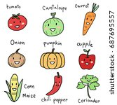 cute and funny smiling fruit... | Shutterstock .eps vector #687695557