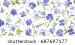 purple flower petals and leaves ... | Shutterstock . vector #687697177