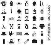 barber shop icons set. simple... | Shutterstock .eps vector #687703207