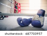 purple boxing gloves on a... | Shutterstock . vector #687703957
