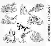 hand drawn set of spa... | Shutterstock .eps vector #687716017