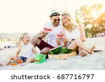 happy family is enjoying beach... | Shutterstock . vector #687716797