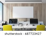 wooden wall open space office... | Shutterstock . vector #687723427