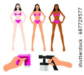vector set of tanning spray... | Shutterstock .eps vector #687729577