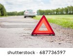 red emergency stop sign and...   Shutterstock . vector #687736597