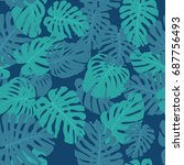 seamless tropical vector... | Shutterstock .eps vector #687756493