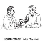 the doctor checks the blood... | Shutterstock .eps vector #687757363