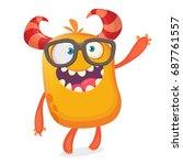 smart happy cartoon monster... | Shutterstock .eps vector #687761557