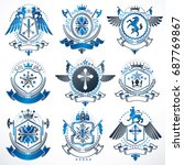 collection of vector heraldic... | Shutterstock .eps vector #687769867