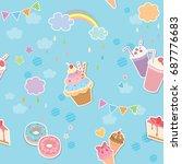vector of sweet menu dessert... | Shutterstock .eps vector #687776683