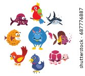 variety of cute animals cartoon ... | Shutterstock .eps vector #687776887
