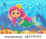 beautiful little mermaid.... | Shutterstock .eps vector #687779797