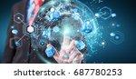 flying earth network interface... | Shutterstock . vector #687780253