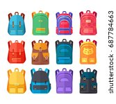 colorful school backpacks icons ... | Shutterstock . vector #687784663
