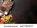 grilled vegetables and beef... | Shutterstock . vector #687785557