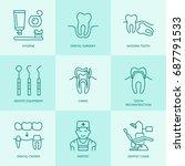 dentist  orthodontics line...   Shutterstock .eps vector #687791533