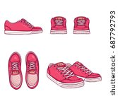 vector set of cartoon pink... | Shutterstock .eps vector #687792793